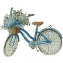 Deco sign wood bicycle summer deco sign to hang blue, white 31 × 25cm