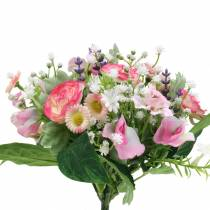 Artificial bouquet with ranunculus and bellis pink, white Ø20cm