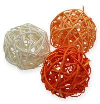 Rattan balls 4.5cm orange apricot 30pcs