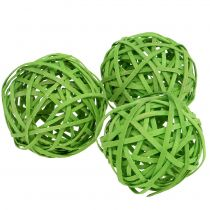 Rattan ball light green Ø6cm 6pcs