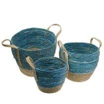 Rattan basket natural / blue Ø40 / 32 / 26cm 3pcs