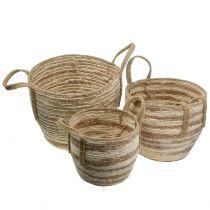 Rattan basket natural / brown Ø40 / 32 / 26cm 3pcs