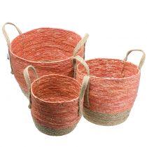 Rattan basket natural / orange Ø40 / 32 / 26cm 3pcs
