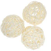 Rattan ball bleached Ø7.5cm 15pcs