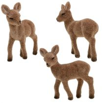 Standing deer flocked 11cm 6pcs