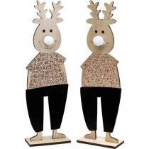 Reindeer wooden deco figure display Christmas 12 × 6.5cm H45cm 2pcs