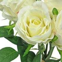 Rose silk flower white artificial roses in a bunch H30cm 8pcs