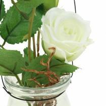 Rose in glass white H23cm
