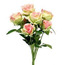 Rose bush artificial green, pink 55cm