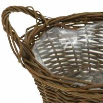 Round basket made of willow branches Easter basket brown Ø19cm