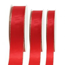 Satin ribbon red with gold edge 40m