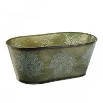 Planter bowl for autumn, metal decoration with leaf decoration green L38cm H15cm