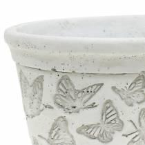Plant pot bowl white with butterflies 17cm x 12cm H8cm 2pcs