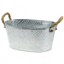 Planter with handles, metal bowl, flower tub L31cm