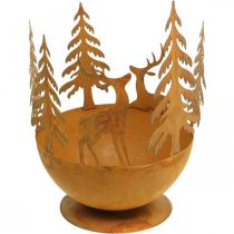 Metal bowl with deer, forest decoration for Advent, decorative vessel stainless steel Ø25cm H29cm