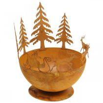 Decorative bowl with Christmas sleigh, Advent decoration, metal vessel, stainless steel grate Ø25cm H32.5cm