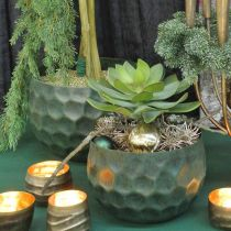 Decorative bowl metal green vintage planter Ø25 / 20.5 / 16.5cm set of 3