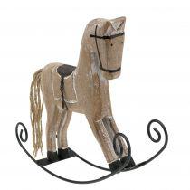 Rocking horse 17cm x 22cm washed white
