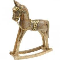 Decorative rocking horse wood solid Christmas nature, golden 28 × 39 × 9,5cm