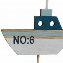 Decorative plug ship wood white blue nature 8cm H37cm 24pcs