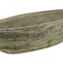 Planter bowl oval concrete wood look light brown 37 × 11.5cm H10cm