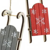 Wooden sledge, winter decoration to hang, decoration for Advent gray / red L13cm 6pcs
