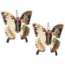 Butterfly gold shiny on clip 12pcs