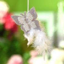Felt butterfly to hang cream wedding decoration 16cm