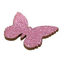 Sprinkle decoration butterfly pink glitter 5/4 / 3cm 24pcs