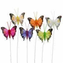 Decorative butterfly with wire assorted 5cm 24pcs