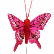 Decorative butterfly with wire 5cm 24pcs