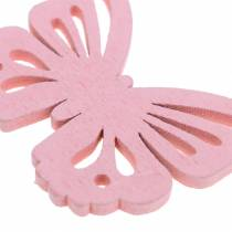 Scattered decoration butterfly white, yellow, pink assorted wood 5cm 40p