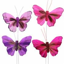 Feather butterfly with wire 7cm pink lilac 24pcs