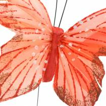 Feather butterfly on wire 10cm pink, purple, salmon 12pcs