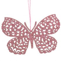 Decoration hanger butterfly pink glitter10cm 6pcs
