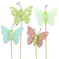 Flower stud butterfly wood 18cm 12pcs