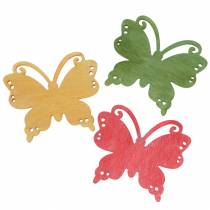 Scattered decoration butterfly wood orange, yellow, green 4cm 72p