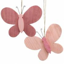 Butterfly to hang wood pink 13cm x 22cm 2pcs