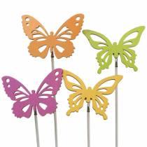 Flower studs butterfly wood 7x5.5cm 12pcs assorted