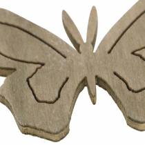 Butterfly wood white, cream, brown assorted 4cm 72pcs table decoration spring