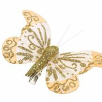 Feather butterfly on clip gold glitter 10pcs