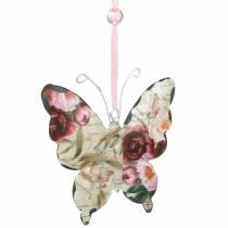 Butterfly to hang metal decoration hanger 9cm spring decoration 6pcs