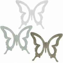 Butterfly to sprinkle 4cm brown, light gray, white Summery sprinkling wood decoration 72pcs