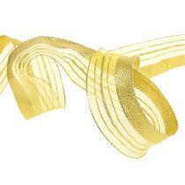 Decorative ribbon with lurex stripes gold 40mm 20m