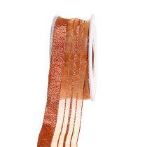 Decorative ribbon with lurex strips copper 40mm 20m