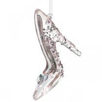 Glittering deco shoe, tree decorations, fairy tale shoe, pink plastic H10cm
