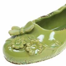 Planter women's shoe ceramic green 24cm