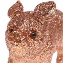 Decorative pig glitter pink 10cm 8pcs