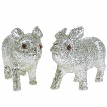 Decorative pig glitter silver 10cm 8pcs