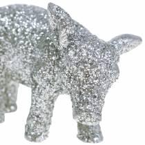 Deco pig New Year's Eve deco silver glitter 3.5cm 2pcs